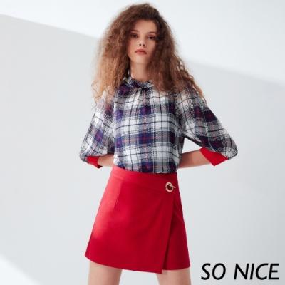 SO NICE亮麗金屬釦飾羅馬布裙褲