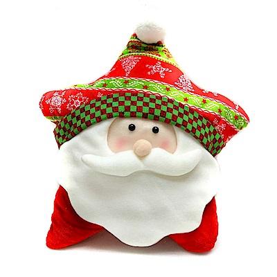 摩達客 超萌聖誕快樂五角星抱枕-聖誕老公公YS-CTD018007