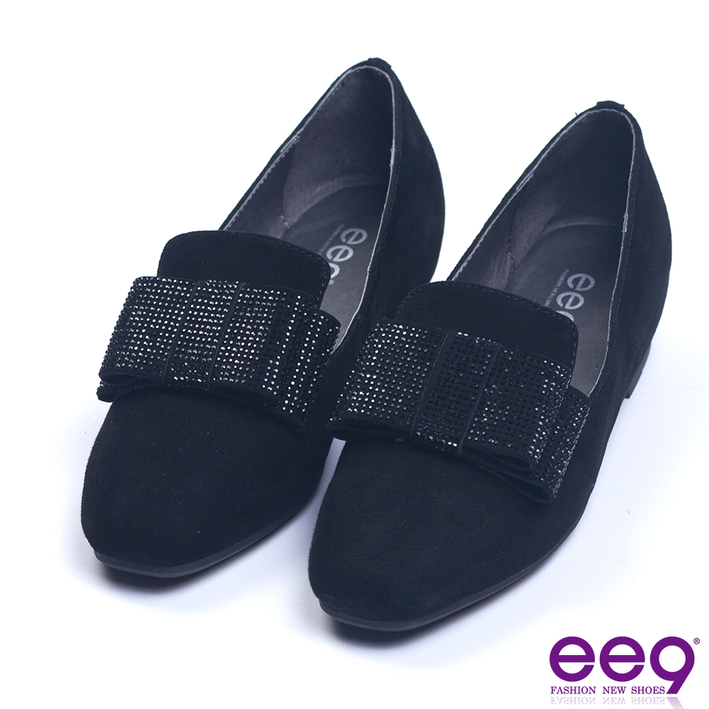ee9 都會優雅鑲嵌亮鑽蝴蝶結內增高休閒便鞋 黑麂