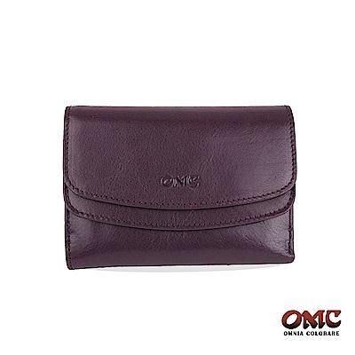 OMC 原皮系列-植鞣牛皮雙壓扣11卡透明窗零錢中夾-紫色