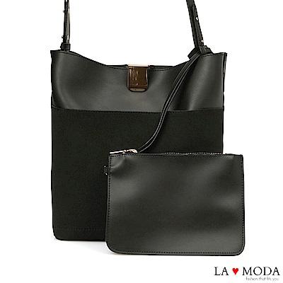 La Moda 輕便百搭大容質感面料肩背斜背包(黑)