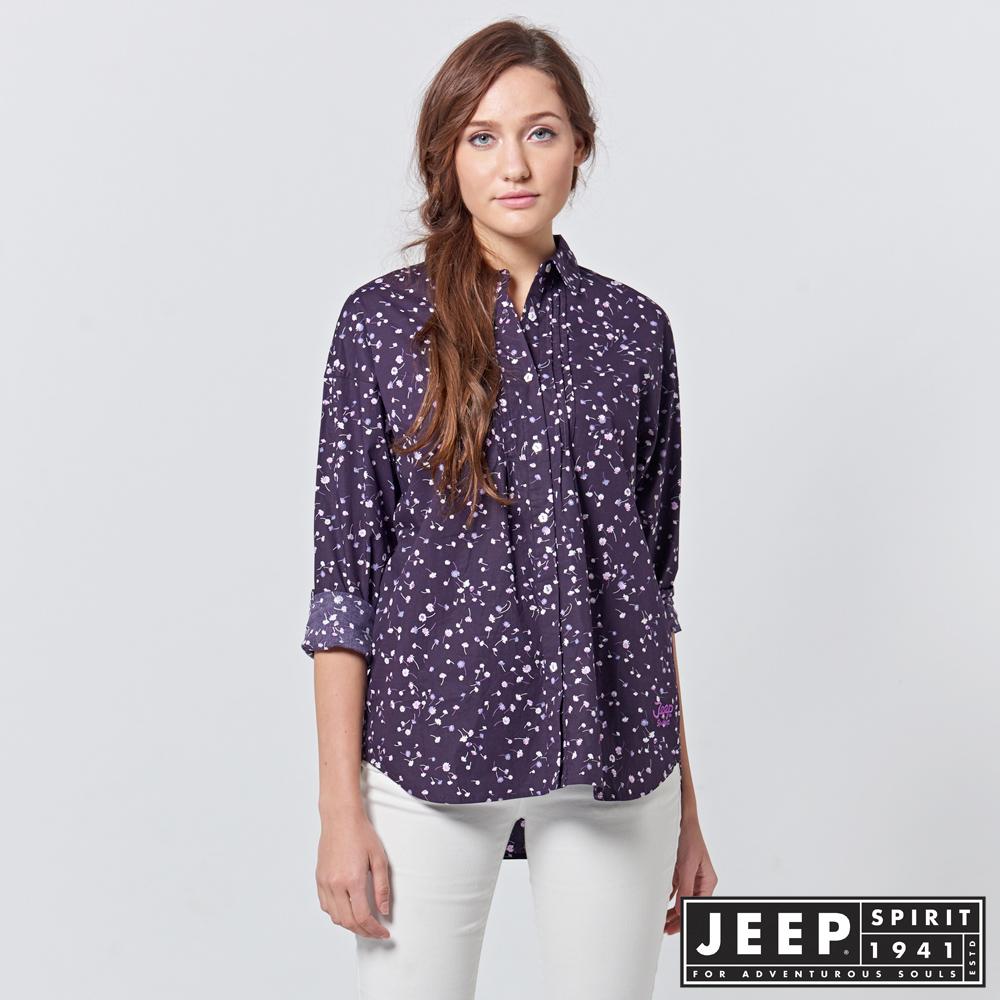 JEEP 女裝 滿版碎花造型柔美長袖襯衫 -紫色
