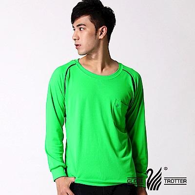 【遊遍天下】MIT男款吸濕排汗機能圓領長衫L038-1活綠