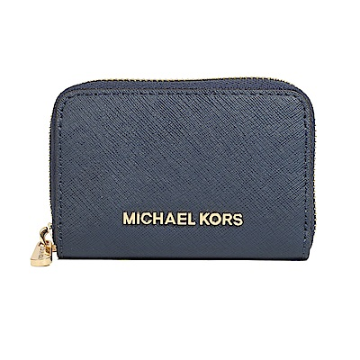 Michael Kors 防刮皮革金字拉鍊零錢包(深藍)