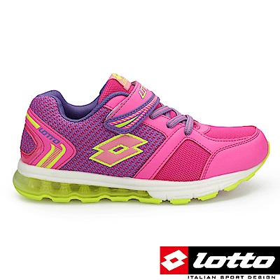 LOTTO 義大利 童 極光 氣墊夜光童跑鞋(粉紅)