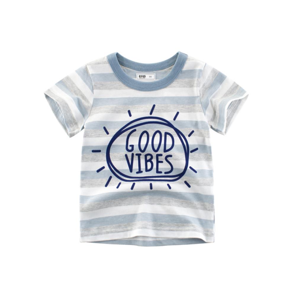 男童 中小童 歐美風格舒柔棉短袖T恤-藍灰白間