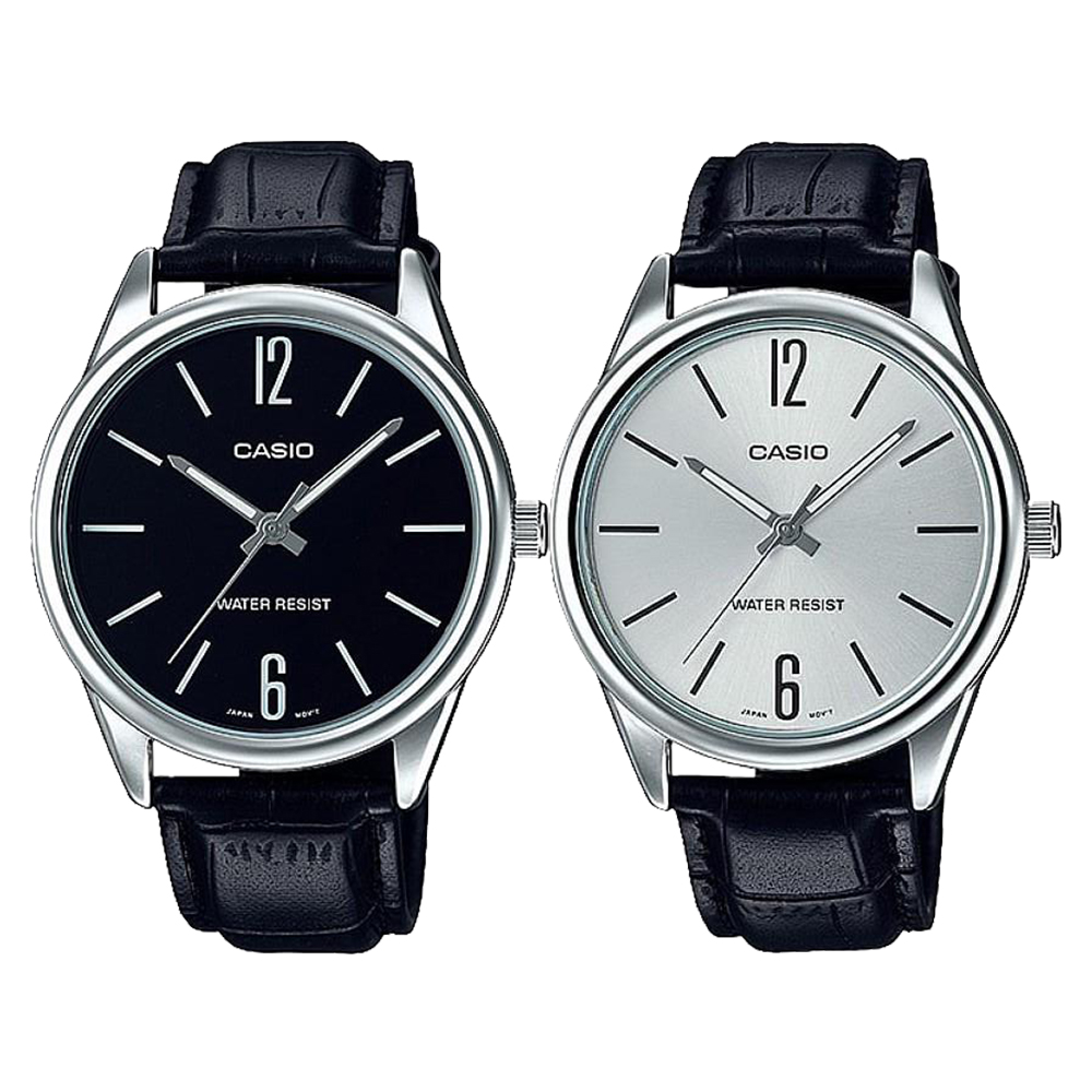 CASIO卡西歐 簡約數字大錶面男錶 (MTP-V005L)-黑/銀面x47mm