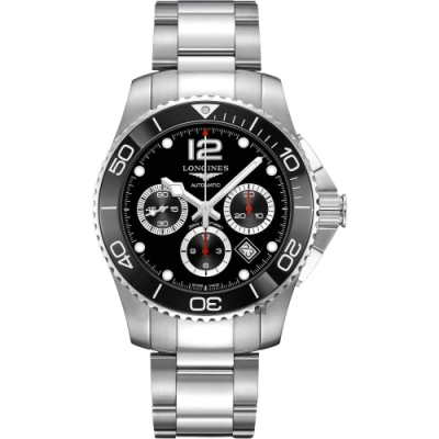 LONGINES 浪琴 深海征服者浪鬼陶瓷計時潛水機械錶-黑/43mm L38834566