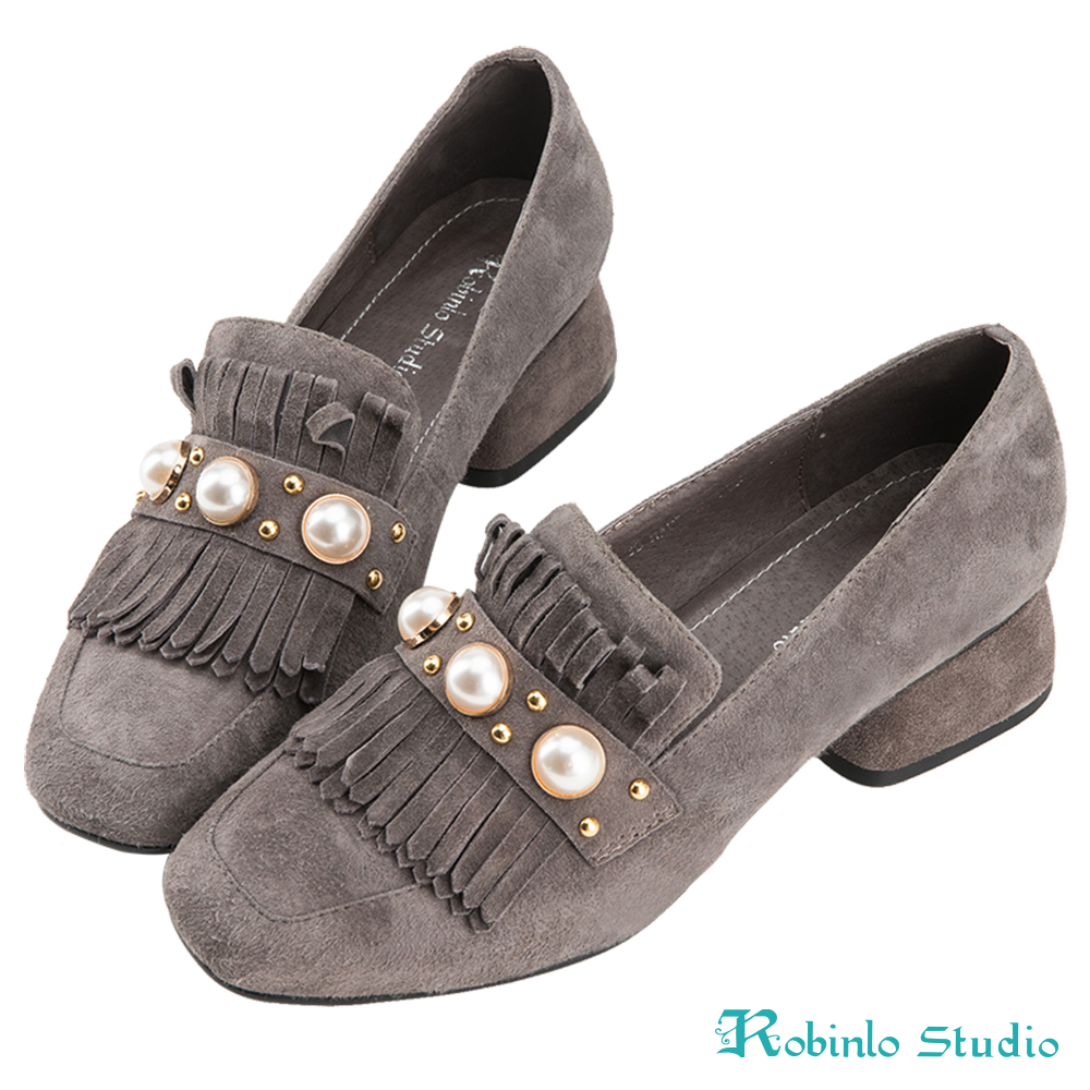 Robinlo 華麗感珍珠流蘇羊絨方頭粗跟鞋 灰