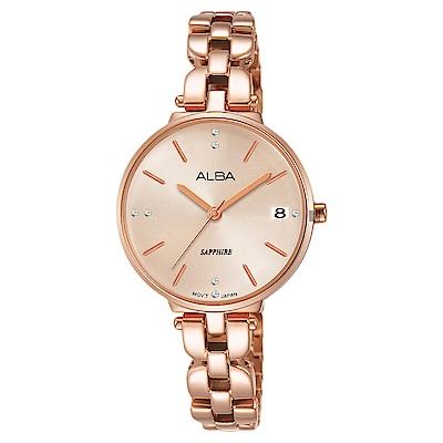 ALBA雅柏 優雅甜心風采女錶(AG8J76X1)-玫塊金x28mm