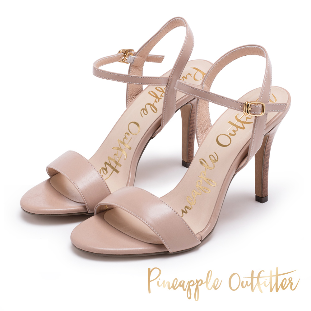 Pineapple Outfitter 氣質可人 牛皮一字細高跟涼鞋-米色