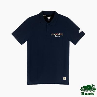 Roots男裝-漾彩花卉系列 口袋設計短袖POLO衫-藍色