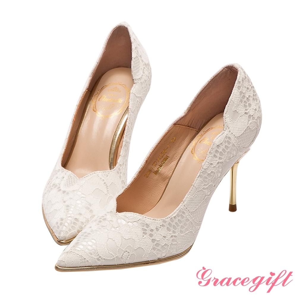 Disney collection by grace gift-仙杜瑞拉典雅蕾絲水晶跟鞋 白