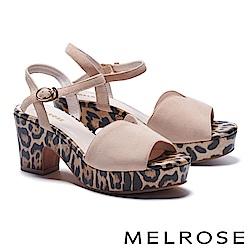 涼鞋 MELROSE 狂野潮流繫帶造型羊麂皮高跟涼鞋-米