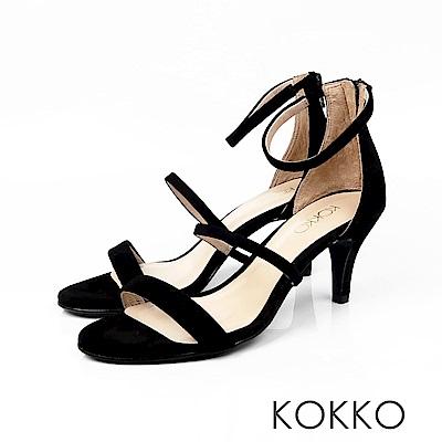 KOKKO - 凡爾賽玫瑰細帶羊麂皮高跟涼鞋 - 黑咖啡