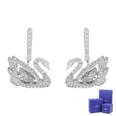 (福利品)SWAROVSKI 施華洛世奇 Dancing Swan躍動水晶天鵝造型銀色耳環