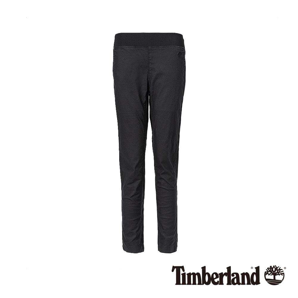Timberland 女款黑色休閒彈力亞麻長褲|B4204