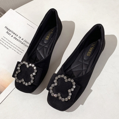 KEITH-WILL時尚鞋館 歡樂單品方頭平底鞋-黑