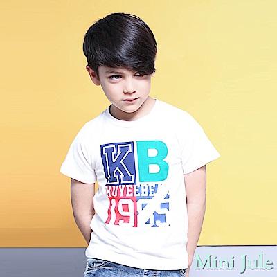Mini Jule 上衣 1985撞色字母印花短袖T恤(白)