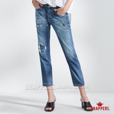 BRAPPERS 女款 Boy Friend Jeans系列-中低腰全棉割破八分褲-深藍