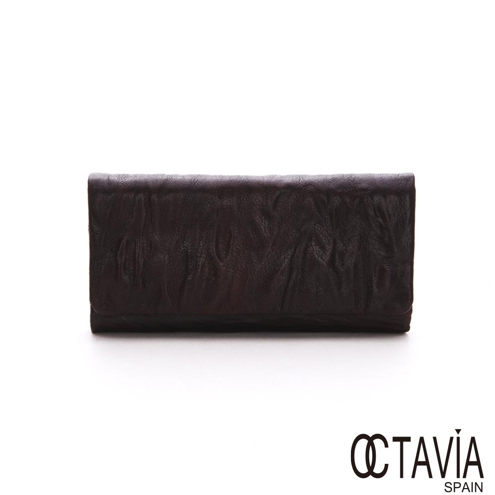 OCTAVIA 真皮- 栗樹的衣  全牛皮樹紋壓扣三折式長夾 - 歲月咖