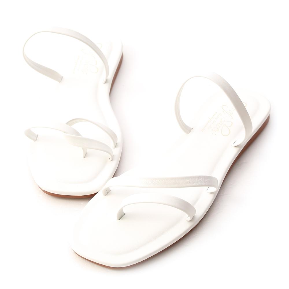 D+AF 獨特夏氛.不對稱設計平底涼鞋*白