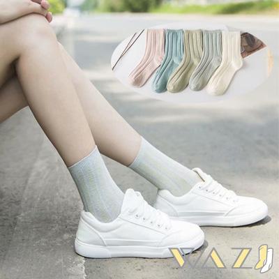 Wazi-日系復古坑條紋中筒襪 (1組五入)