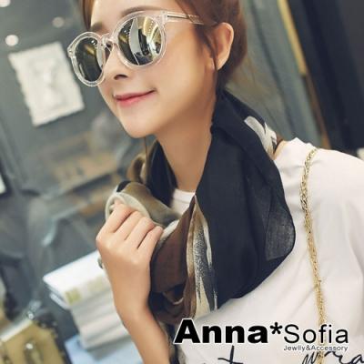 【2件450】AnnaSofia 暈染灑點玫瑰 拷克邊韓國棉圍巾披肩(黑咖褐系)