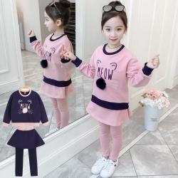 小衣衫童裝 中大女童可愛貓咪毛球長袖上衣裙褲套裝1080942