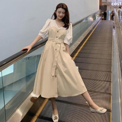 IMStyle V領燈籠袖假兩件連身裙 (2色-黑色、白色)