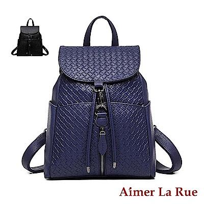 Aimer La Rue 摩登時尚編織紋後背包(共三色)