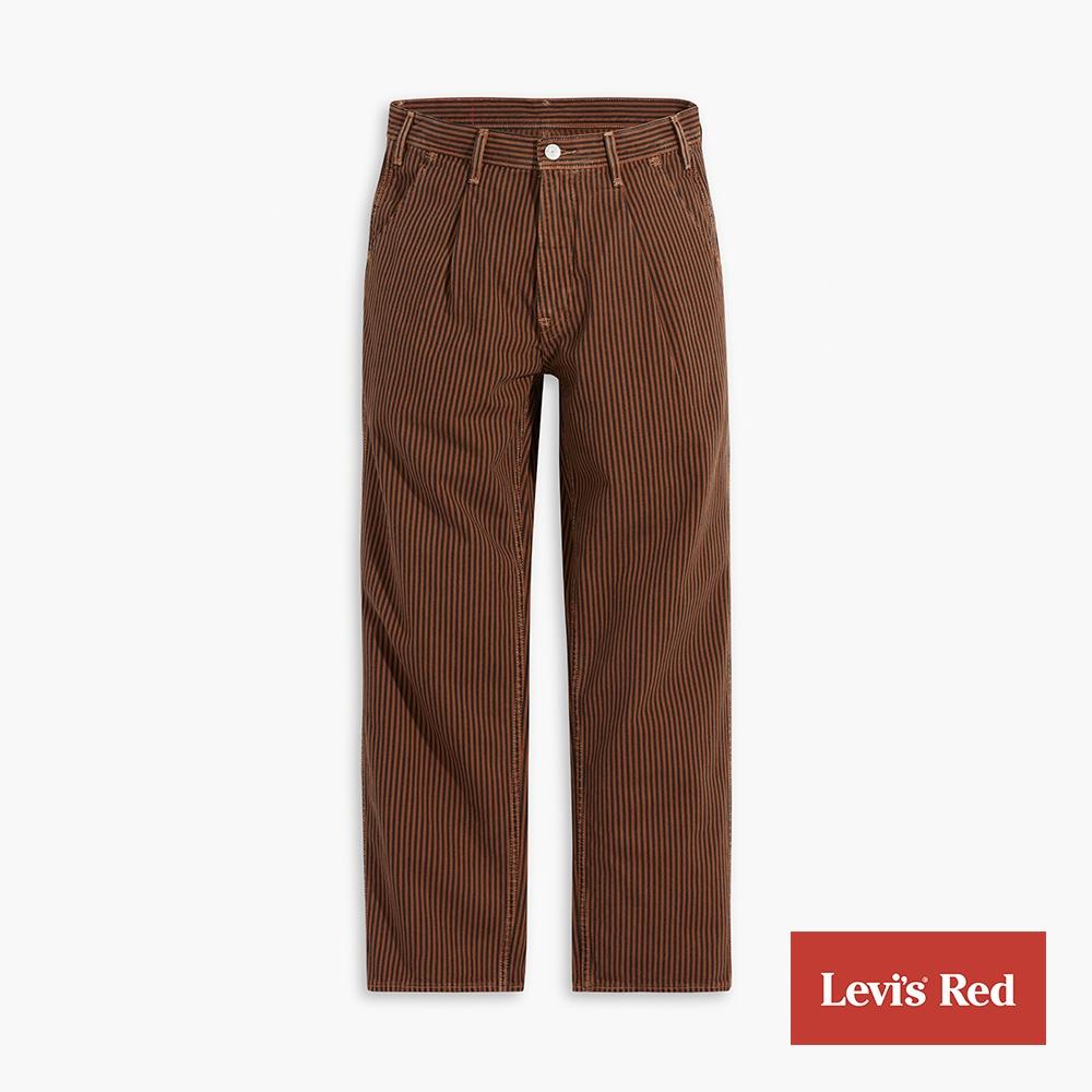 Levis Red 工裝手稿風復刻再造 男款 打褶寬直筒牛仔褲 復古木質條紋