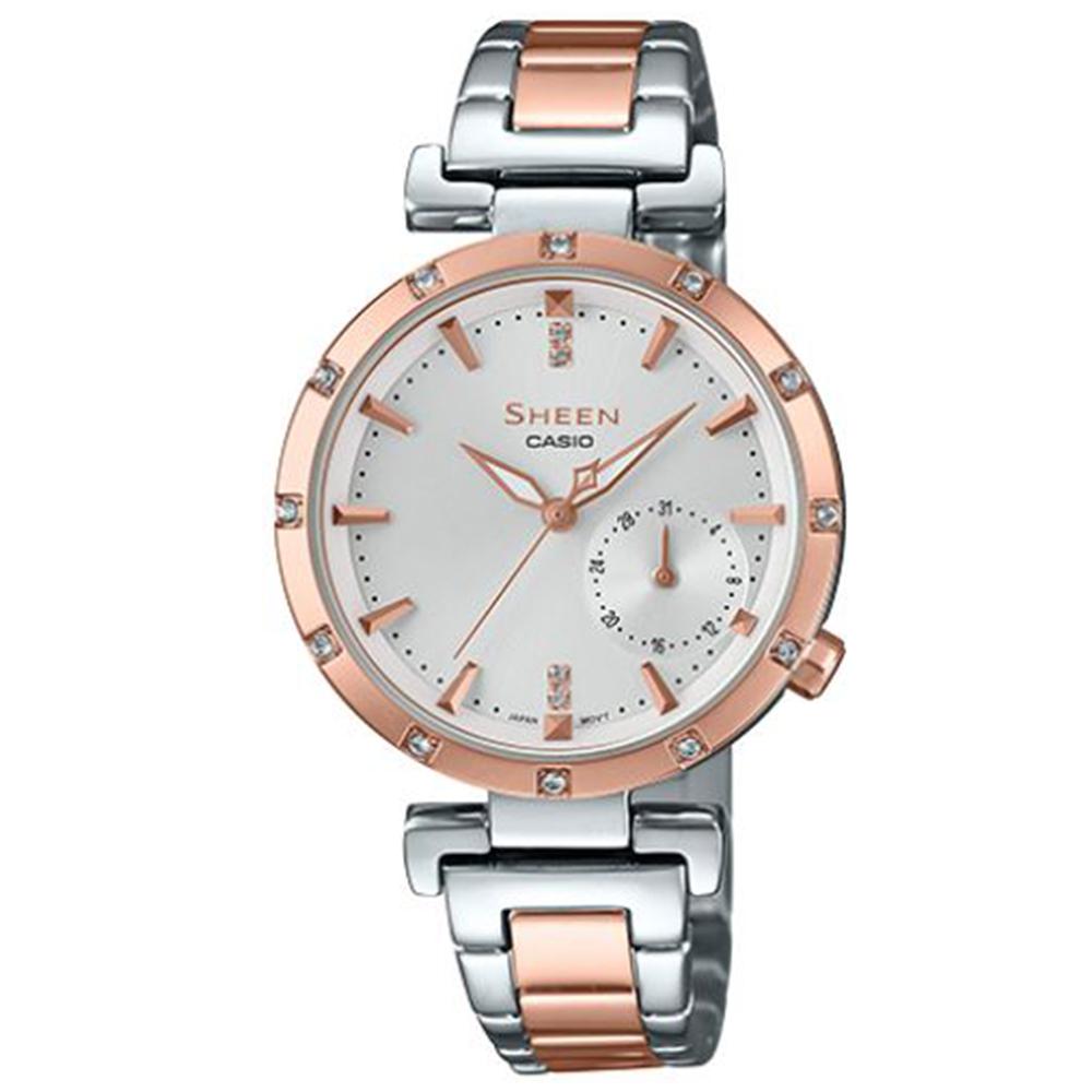 SHEEN優雅簡約耀眼施華洛世奇指針腕錶(SHE-4051SPG-7)銀X蜜桃金32mm