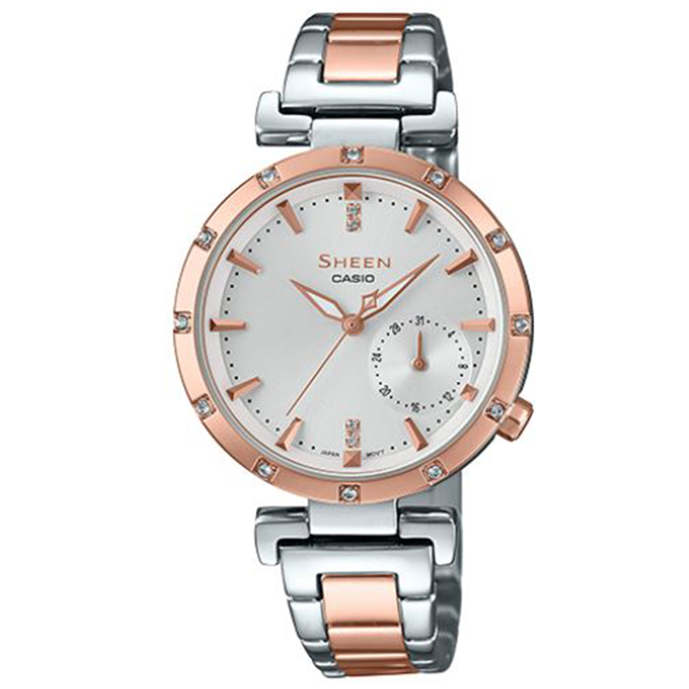 SHEEN優雅簡約耀眼施華洛世奇指針腕錶(SHE-4051SPG-7)銀X蜜桃金32mm @ Y!購物