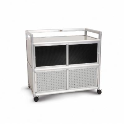 Cabini小飛象-黑花格3.0尺鋁合金紗門收納櫃88.5x50.8x83.6cm