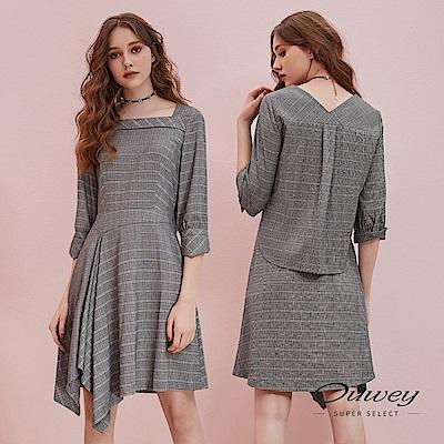 OUWEY歐薇學院極簡後活片格紋七分袖方領不對稱裙擺洋裝灰