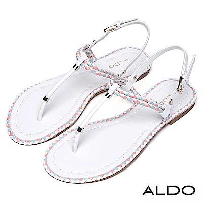 ALDO 雙色麻花編織T字金屬釦帶拉帶式夾腳涼鞋~粉嫩白色