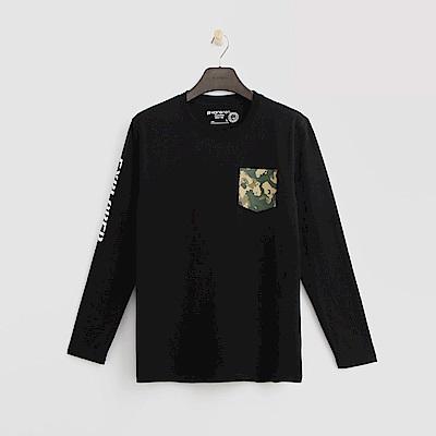 Hang Ten - 男裝 - 個性口袋長袖T恤-黑色