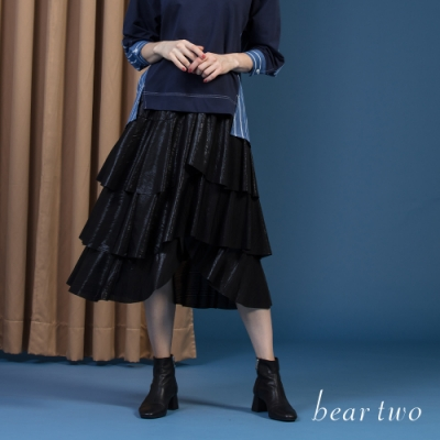 beartwo - 珠光波浪蛋糕疊層長裙 - 黑