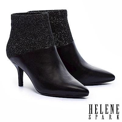 短靴 HELENE SPARK 摩登時尚異材質拼接羊皮尖頭高跟短靴-黑