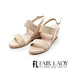 Fair Lady 水鑽拼接一字草編楔型涼鞋 米