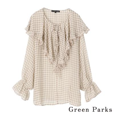 Green Parks 浪漫大荷葉微透感格紋上衣