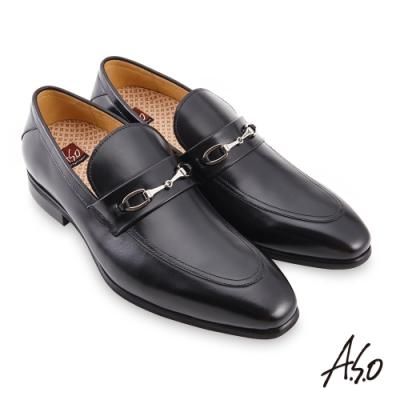A.S.O 職場通勤 零壓挺力拋色金屬釦樂福鞋-黑