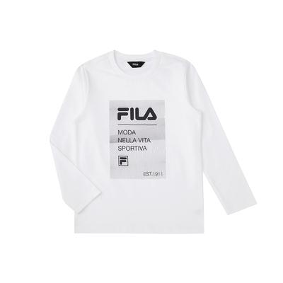 FILA KIDS 童長袖圓領上衣-白色 1TEV-8900-WT