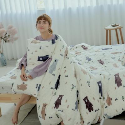 BUHO 極柔暖法蘭絨兩用毯被床包雙人特大四件組(庫瑪歐巴)