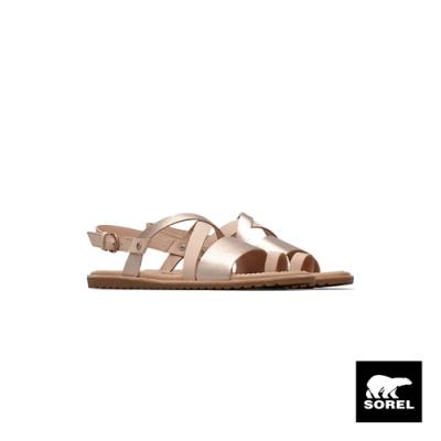 SOREL-女款ELLA 交叉涼鞋-粉橘色