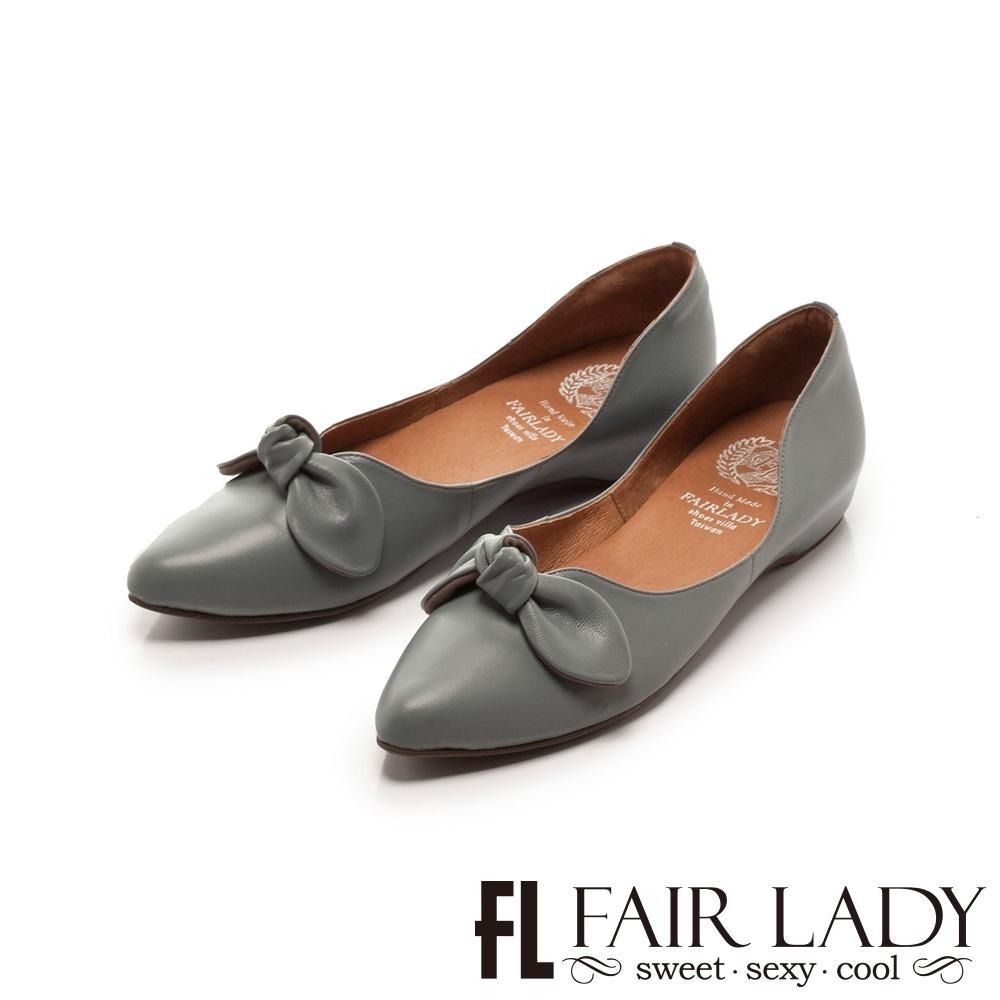 FAIR LADY 懶骨頭 蝴蝶扭結尖頭平底鞋 瑪雅藍