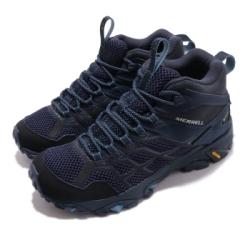 Merrell 戶外鞋 Moab FST 2 MID GTX 女鞋 登山 越野 中筒 耐磨 黃金大底 防潑水 藍 黑 ML034240