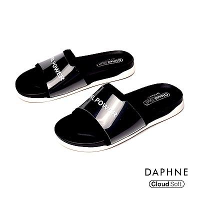 達芙妮DAPHNE 涼鞋-個性字母標語休閒平底拖鞋-黑色