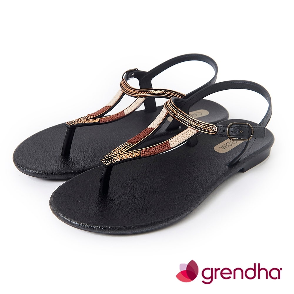 Grendha 異國風金屬串珠平底涼鞋-黑色